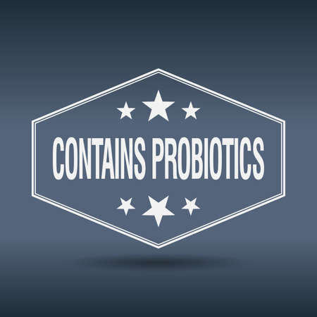 old sign: contains probiotics hexagonal white vintage retro style label