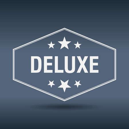 deluxe: deluxe hexagonal white vintage retro style label Illustration