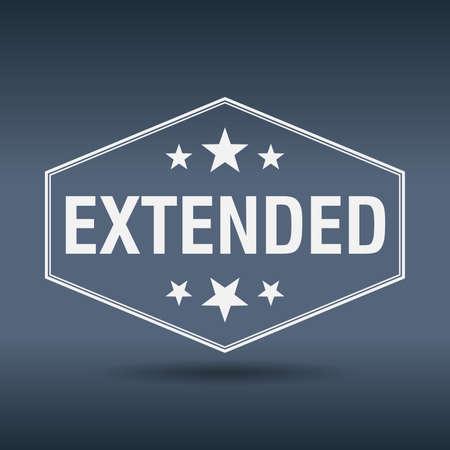 estendido: extended hexagonal white vintage retro style label