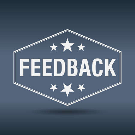 feedback label: feedback hexagonal white vintage retro style label