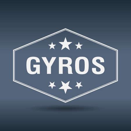 gyros: gyros hexagonal white vintage retro style label