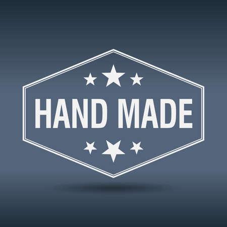hand made: etiqueta de estilo retro hechos a mano hexagonal vendimia