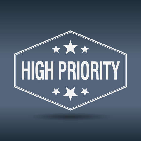 priority: high priority hexagonal white vintage retro style label Illustration