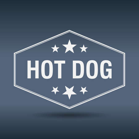 hot dog label: hot dog hexagonal white vintage retro style label
