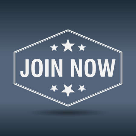 join now: join now hexagonal white vintage retro style label