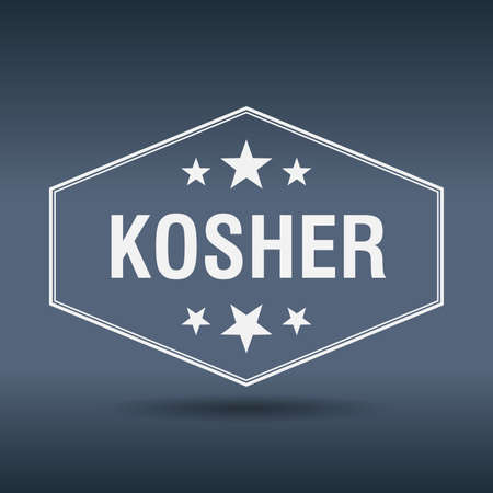 kosher: kosher hexagonal white vintage retro style label