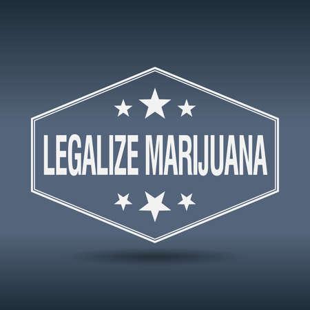 legalize: legalize marijuana hexagonal white vintage retro style label Illustration