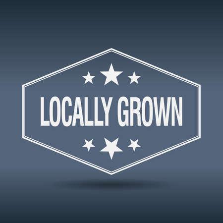 grown: locally grown hexagonal white vintage retro style label Illustration