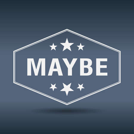 maybe: maybe hexagonal white vintage retro style label