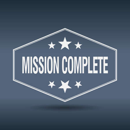 accomplish: mission complete hexagonal white vintage retro style label