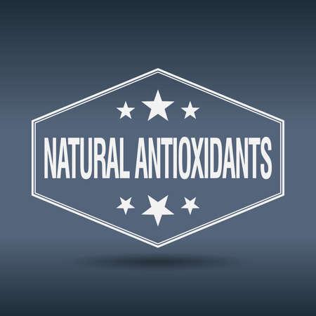 antioxidants: natural antioxidants hexagonal white vintage retro style label
