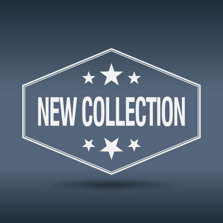 new collection: new collection hexagonal white vintage retro style label