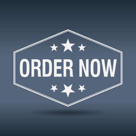 order now: order now hexagonal white vintage retro style label Illustration