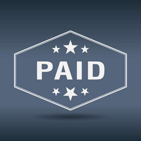 paid: paid hexagonal white vintage retro style label