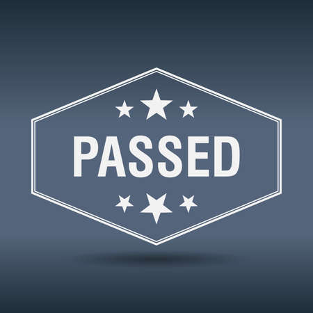 passed: passed hexagonal white vintage retro style label