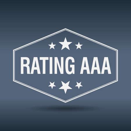 aaa: rating aaa hexagonal white vintage retro style label Illustration