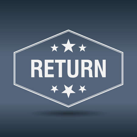 return: return hexagonal white vintage retro style label