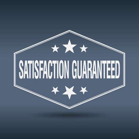 satisfaction guaranteed: satisfaction guaranteed hexagonal white vintage retro style label