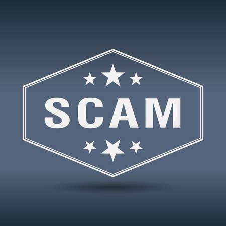 scam: scam hexagonal white vintage retro style label