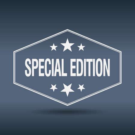edizione straordinaria: edizione speciale etichetta di stile esagonale bianco annata retr�