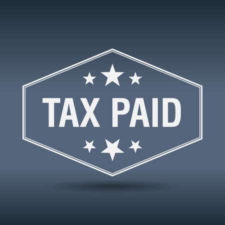 paid: tax paid hexagonal white vintage retro style label