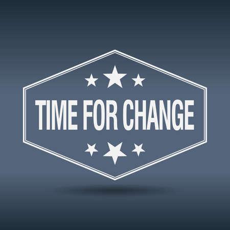 time for change hexagonal white vintage retro style label