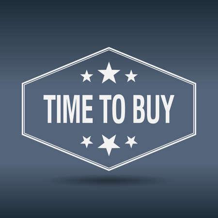 buy time: time to buy hexagonal white vintage retro style label Illustration