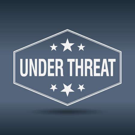 threat: under threat hexagonal white vintage retro style label
