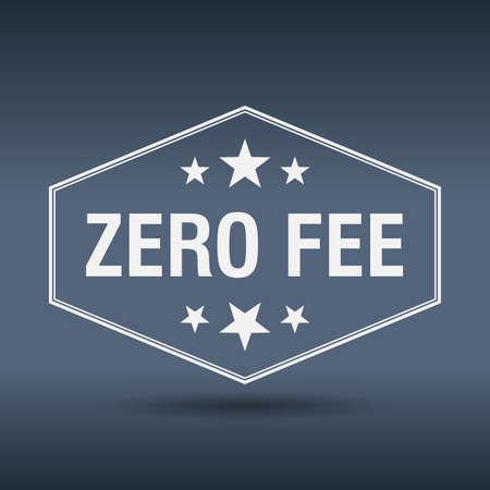 fee: zero fee hexagonal white vintage retro style label