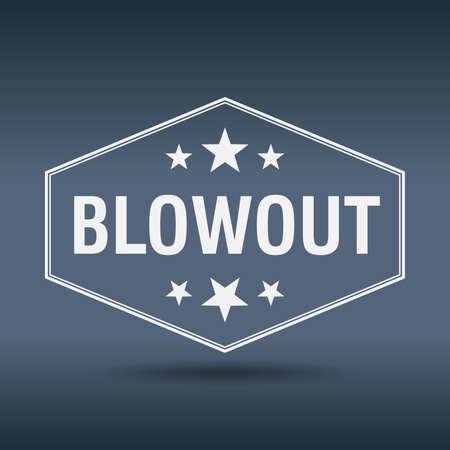 blowout: blowout hexagonal white vintage retro style label