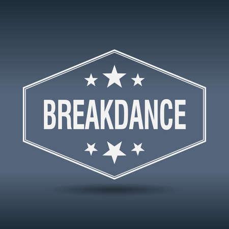 breakdance: breakdance hexagonal white vintage retro style label