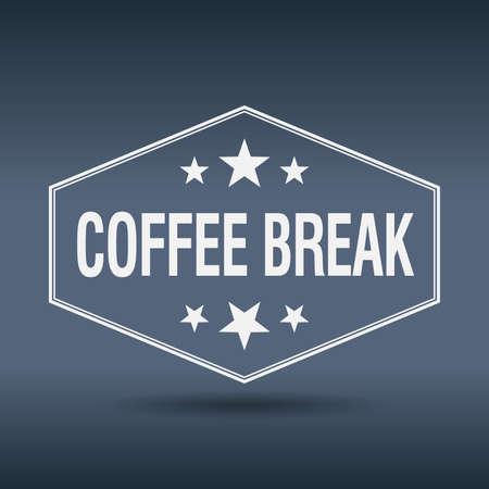 coffee break: coffee break hexagonal white vintage retro style label Illustration
