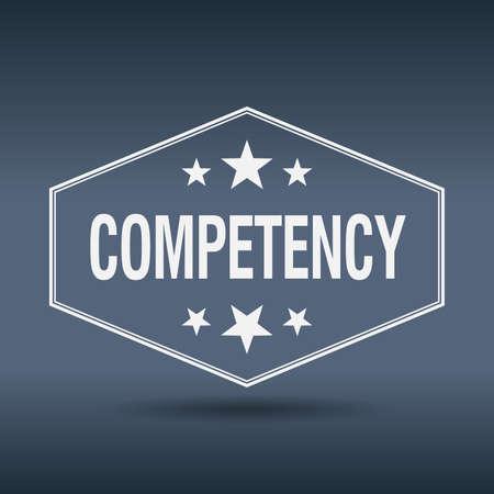 competency: competency hexagonal white vintage retro style label