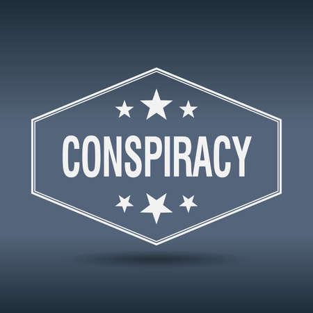 conspiracy: conspiracy hexagonal white vintage retro style label