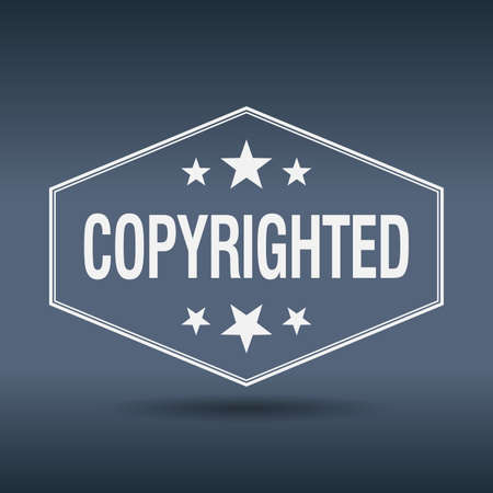 copyrighted: copyrighted hexagonal white vintage retro style label