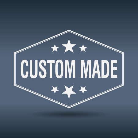 custom made: custom made hexagonal white vintage retro style label