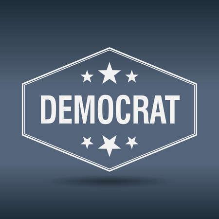 democrat: democrat hexagonal white vintage retro style label