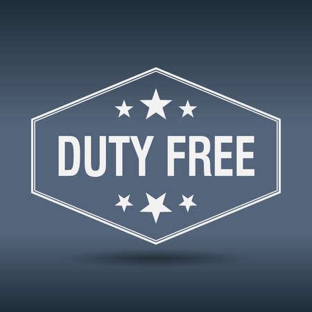 duty: duty free hexagonal white vintage retro style label