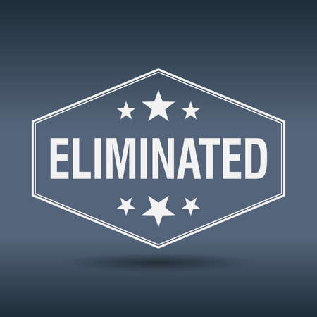 eliminated: eliminated hexagonal white vintage retro style label