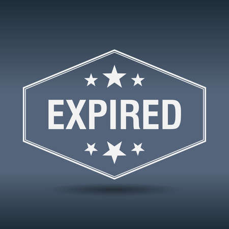expired: expired hexagonal white vintage retro style label