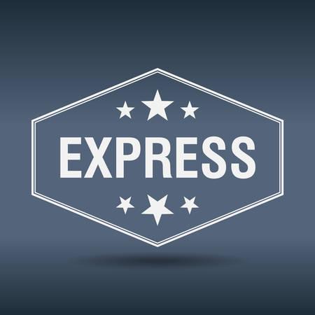 express: express hexagonal white vintage retro style label