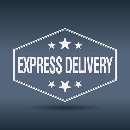 express delivery: express delivery hexagonal white vintage retro style label