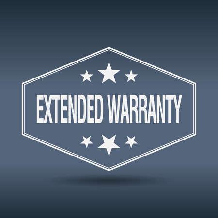 extended: extended warranty hexagonal white vintage retro style label