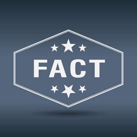 fact: fact hexagonal white vintage retro style label