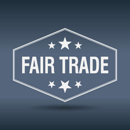 fair trade: fair trade hexagonal white vintage retro style label