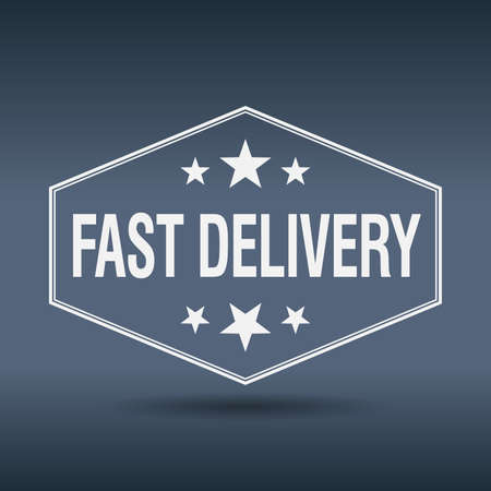fast delivery: fast delivery hexagonal white vintage retro style label