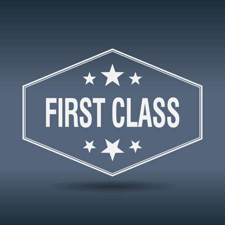 first class: first class hexagonal white vintage retro style label