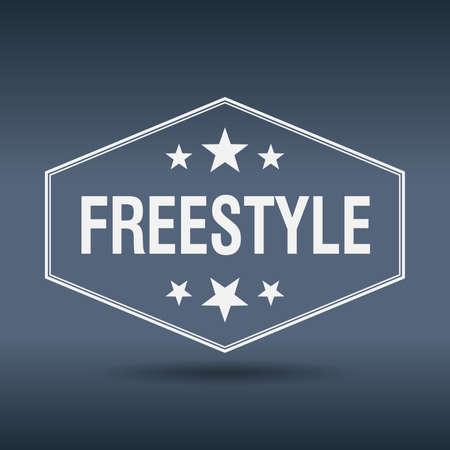 freestyle: freestyle hexagonal white vintage retro style label