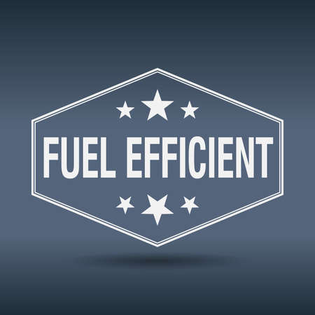 efficient: fuel efficient hexagonal white vintage retro style label