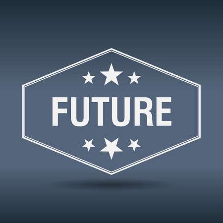 retro future: future hexagonal white vintage retro style label